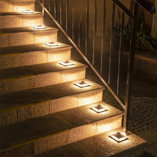 Outdoor LED Solar Underground Lamp 1pcs Waterproof Stair Light Wall Embedded Lighting Step Deck Footlights IP68