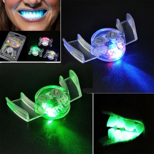 New Glow In The Dark Luminescent Toys Flashing LED Light Up Mouth Braces Piece Glow Teeth for Halloween Party Rave Funny Gifts E