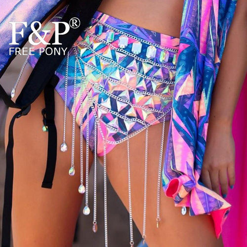 Holographic Crystal Rave Bodychain Skirt Bottom Burning Man Festival Pole Dance Costume Gogo Wear Clothes