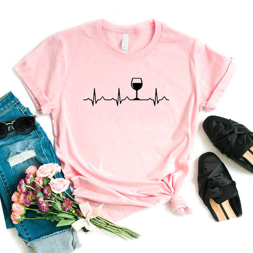 Wine Heartbeat Women tshirt Cotton Casual Funny t shirt Lady Yong Girl Top Tee Higher Quality 6 Colors S-485