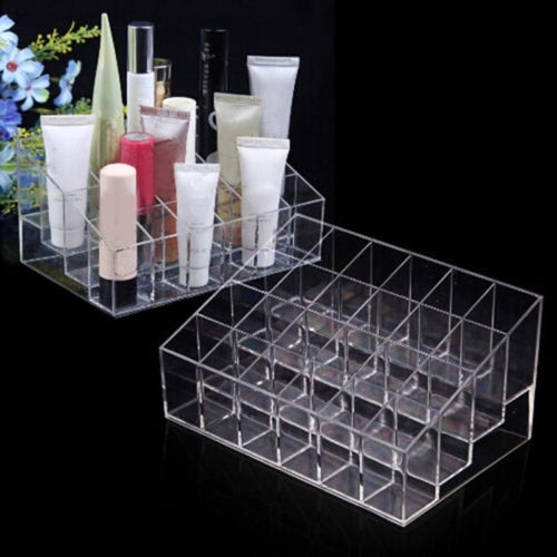 24 Grid Acrylic Makeup Organizer Lipstick Jewelry Storage Box Cosmetic Display Stand Brush Holder Make up Organizer Storage Box