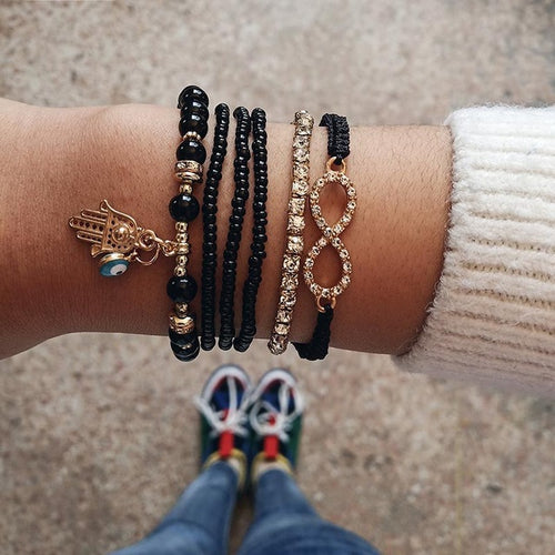 6 pcs/set Love Heart Infinity Symbol Charm Bracelets for Woman Gold Link Chain Bracelets Hollow Feather Black Beads Braclet Girl