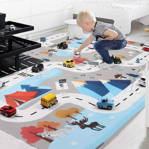 New 130X100 CM Nordic snow toy car mats map children's play area rug pad urban road map game collapsible building parking lot