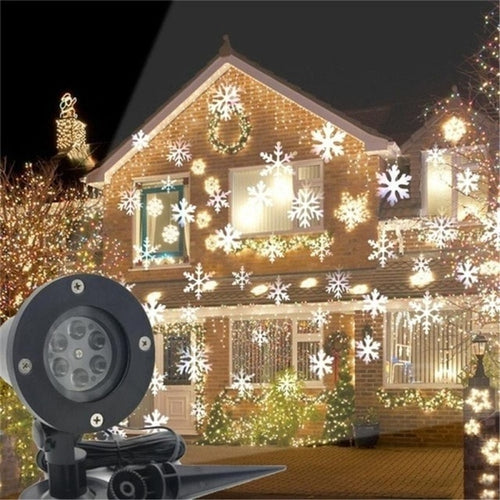 LED Christmas Light Outdoor Waterproof Snowflake Projection Lamp Projector Lighting for Lawn Stage Garden Decorations EU/US Plug