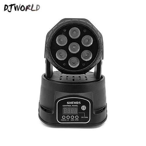 Djworld LED 7X18W Wash Light RGBWA+UV 6in1 Moving Head Stage Light DMX Stage Light DJ Nightclub Party Concert Stage Professional