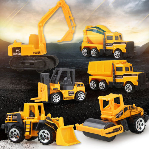 1:64 Medium Size Imitation Inertia Multi-type Engineering Vehicles Kids Excavator Model Car Toys for boy