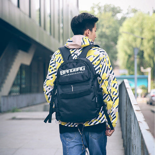 Free Shippin New Oxford Fabric Double Rocker Bags Skateboard Backpack Lovers Bags Black Students Bags Skateboard Bags