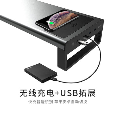 USB3.0 Wireless Charging Aluminum Monitor Stand Riser Support Transfer Data and Charging,Keyboard and Mouse Storage Desk