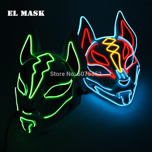 Anime Expro Decor Japanese Fox Mask Neon Led Light Cosplay Mask Halloween Party Rave Led Mask Dance DJ Payday Costume Props