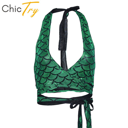 ChicTry Women Halter Strappy Wrap Around Bra Crop Top Shiny Mermaid Fish Scale Printed Club Party Rave Costume Pole Dance Tops