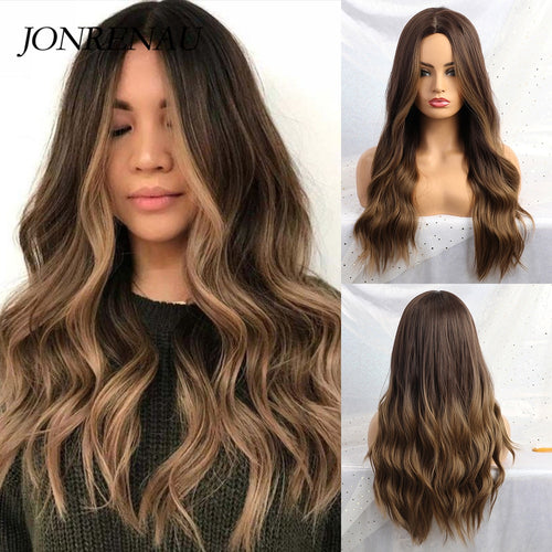 JONRENAU 24 Inches  Long Synthetic Natural Wave Brown Ombre Hair Wigs Heat Resistant Hair Wigs for Black Women