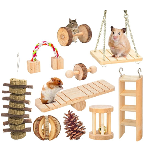 10 Pcs Set Hamster Chew Toys Natural Wooden Gerbils Rats Chinchillas Toys Accessories Dumbbells Exercise Bell Roller Teeth Care