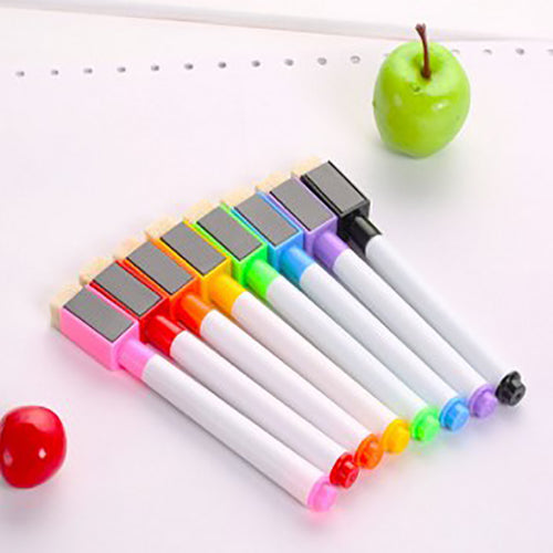 8colors Erasable magnetic White Board Marker Pen Whiteboard Marker Chalk Glass Ceramics Office School art marker colorful ink