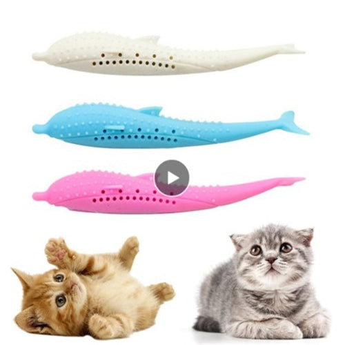 Soft Silicone CatMint Fish Toothbrush Toy Pet Molar Stick Cleaning Teeth Interactive Cats NEW Dental Massage Claws Thumb Funny