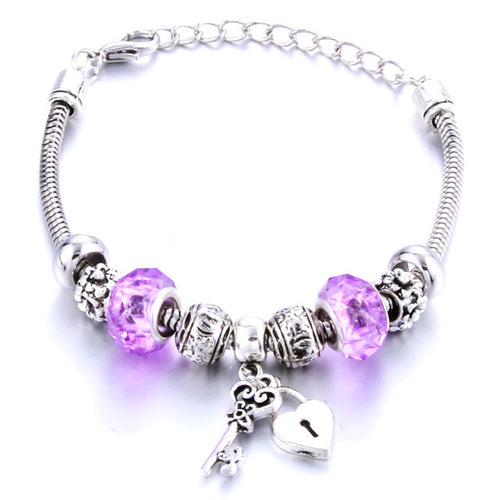 Romantic Love DIY Charm Bracelet Love Heart Key and Lock Bracelet for Women Jewelry Christmas New Year's Gift