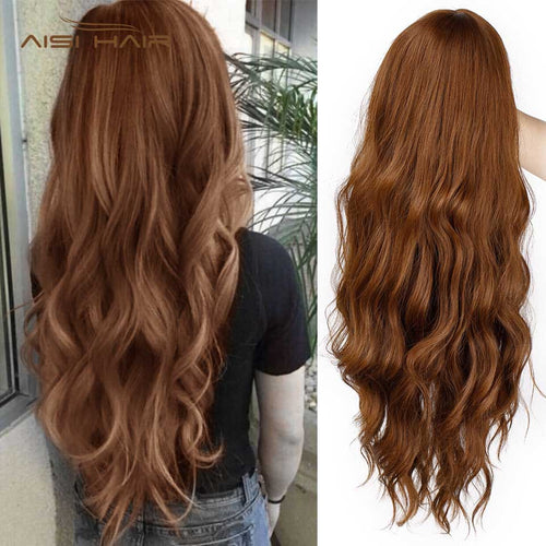 Long Mix Brown Womens Wigs with Bangs Water Wave Heat Resistant Synthetic Wigs for Women African American