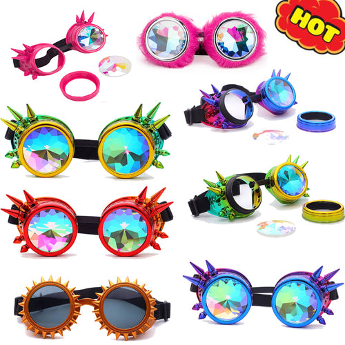 Kaleidoscope Colorful Glasses Rave Festival Party EDM Sunglasses Diffracted Lens Steampunk Goggles Men Welding Gothic Cosplay