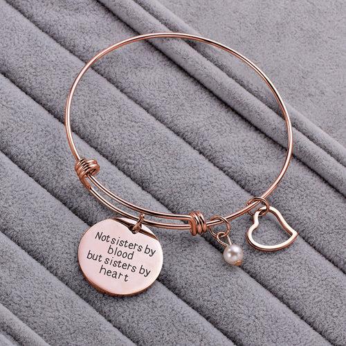 BFF Best Friend Bracelet Gift Silver Rose Gold Friendship Bracelet Heart Charm Engraved Not Sister By Blood But Sister By Heart