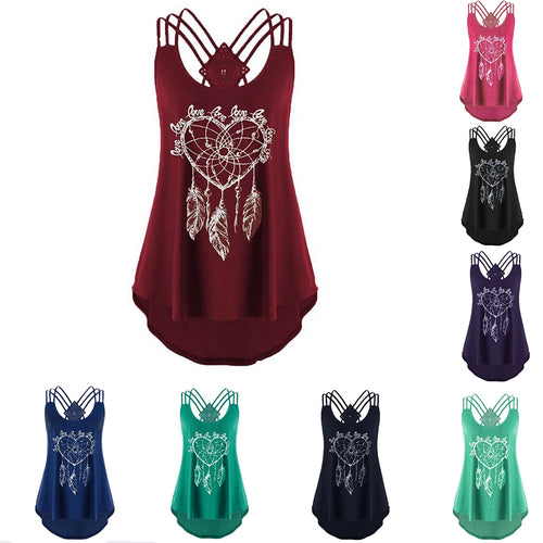 Women's Fashion Sexy Backless Sleeveless Solid Color T-shirt 2019 New Summer Print Spaghetti Shoulder Straps Irregular Hem Tops