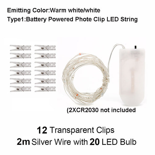 LED Clip Light String to Hang Photos Lights Lantern Picture Lights 10M for Party Internet Celebrity Room Decoration Lamp