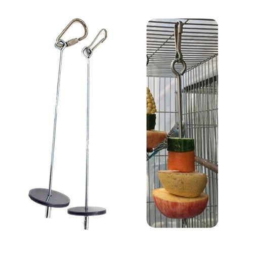 2019 New High Quality Pet Parrots Birds Food Holder Support Stainless Steel Fruit Spear Stick Meat Fruit Vegetable Skewer