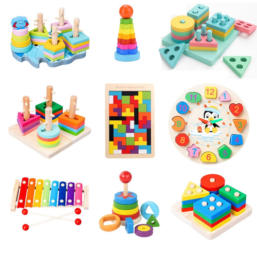HOT SALE Colorful Baby Wooden Blocks Toys Music Baby Rattles Toys Graphic Cognition Early Educational Toys For Baby 0-12 Months