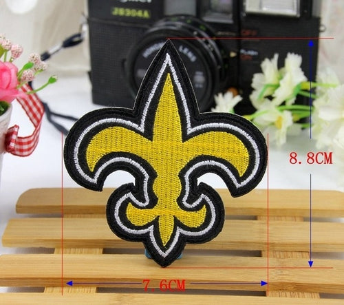 FLEUR DE LIS GOLD Cross Applique patch Iron sew On Embroidered Mardi Gras Religious badge patch