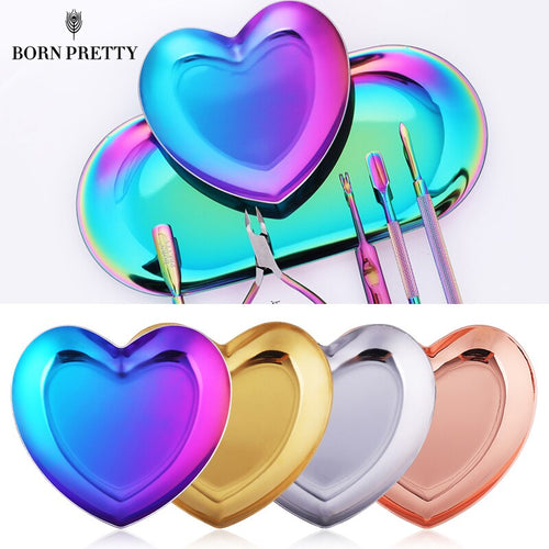 1 Pc Metal Heart Nail Art Storage Case Nail Tips Jewelry Decorations Palette Container Colorful Auroras Nail Art Tools