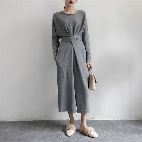 Women Long Sleeve Split Knitted A-line Midi Spring Dress High Waist Bandage Lace Up Female New Year Dresses 2020 O-Neck Clothes