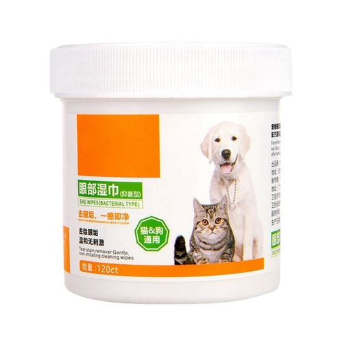 120PCS Round White Pet Wipes Dogs Cats Other Pets Safely Gently Clean the Tears Stains Aloe Extract Eyes Protecter