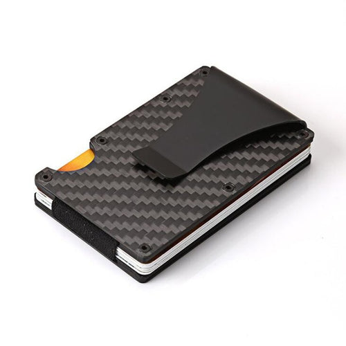 2020 New Fashion Slim Carbon Fiber Credit Card Holder RFID Non-scan Metal Wallet Purse Male Carteira Masculina Billetera