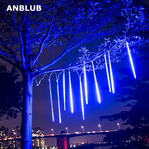 ANBLUB 30cm 50cm Waterproof Meteor Shower Rain 8 Tube LED String Lights For Outdoor Holiday Christmas Decoration Tree EU/US Plug