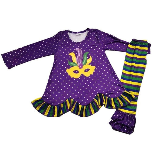 Mardi gras children's A-line tunic legging pants sets party mask girls adorable outfit