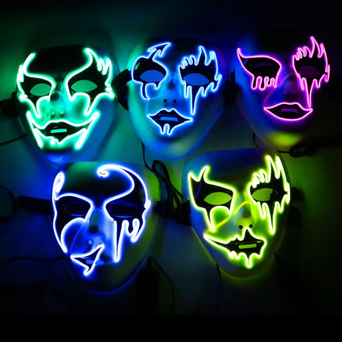 New Luminous Masquerade Full Face Mask Mardi Gras Costume Halloween Party Accessory For Men And Women #j