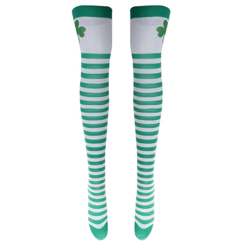 1 Pair St.Patrick Clover Print Over The Knee Socks Women Fashion Thigh High Stockings Ireland Festive &Party Supplies