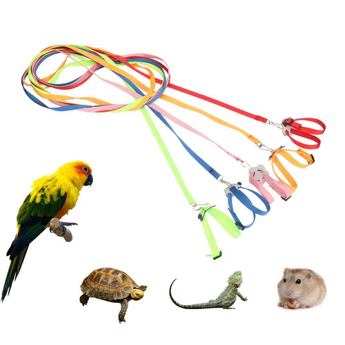 Adjustable Pet Harness Reptile Leash Turtle Gerbil Lizard Outdoor Training Soft Strap Anti-bite Multicolor Light Traction Rope