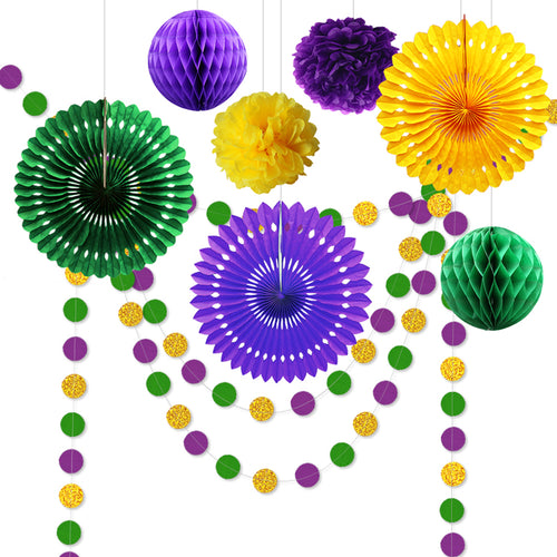 9pcs Mardi Gras Decorations for Party Purple Green Dot Garlands Paper Fan Tuesday Carnival Celebration Birthday Party Supplies