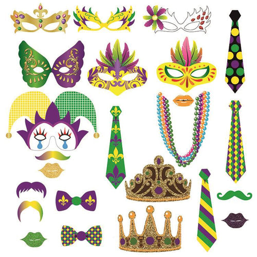 24pcs Mardi Gras Carnival Party Decorations DIY Mask Paper Cards Photobooth Props Festival Celebration Party Supplies