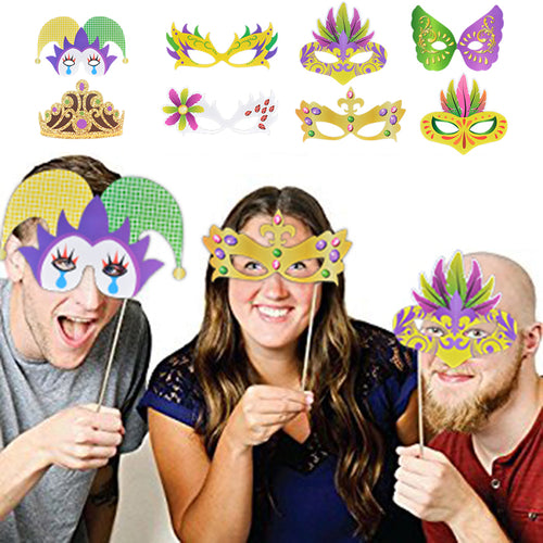 Photo Booth Props Funny Mask Crown Tie Beard Kit Queen Lips Party Photo Prop 24Pcs For Mardi Gras Birthday Wedding Decoration