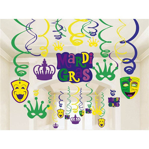 Mardi Gras Carnival Party Decorations PVC Spiral With Mask Paper Cards Ceiling Hanging Swirl Party Supplies