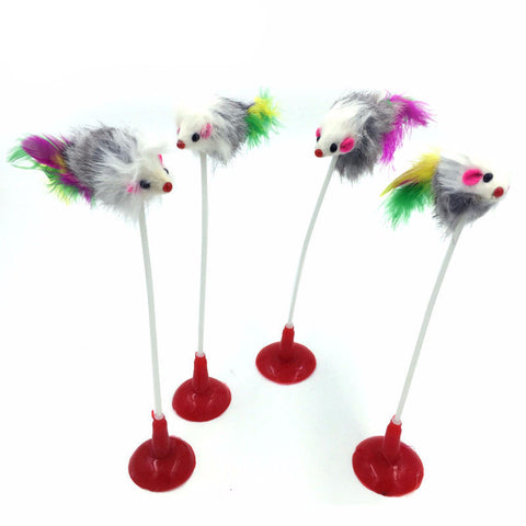 Suction Piece, Feather Mouse, Cat Spring Toy
