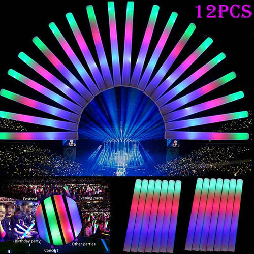12pcs Light Up Multi Color LED Foam Stick Wands Rally Rave Cheer Batons Party Flashing Glow Stick Light Sticks   YH-002