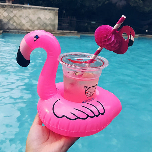 1 Piece Flamingo Drink Holder Pool Float Inflatable Floating Swimming Pool Beach Party Kids Swim Beverage Holders For phone cup