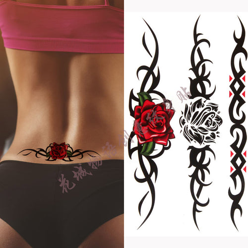 Colorful beautifulred rose flower Body Art Waterproof fake sexy For Woman Flash TemporaryTattoo Stickers 10*20CM KD361