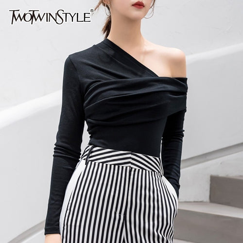 TWOTWINSTYLE Sexy Off Shoulder Asymmetric Women's T-shirts Tops Female Slim Long Sleeve Fashion Black Tshirt Autumn 2019