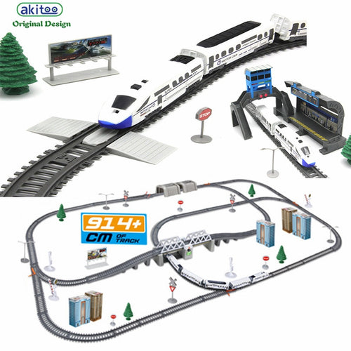 akitoo 1020 Simulation of high-speed rail motor vehicle rail car electric  train harmony  bullet train children's toy mold