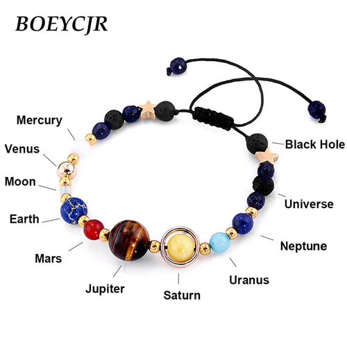 BOEYCJR Universe Planets Beads Bangles & Bracelets Fashion Jewelry Natural Solar System Energy Bracelet For Women or Men