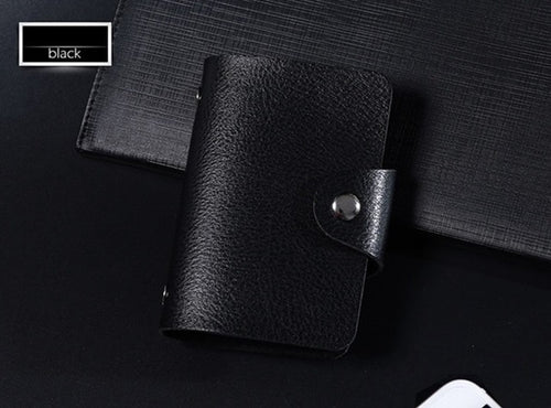 New PU Leather Function 24 Bits Card Case Business Card Holder Men Women Credit Passport Card Bag ID Passport Card Wallet H088
