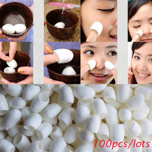 100Pcs Silkworm Balls Purifying Whitening Exfoliating Scrub Blackhead Remover Natural Silk Cocoons Facial Skin Care Best Gifts