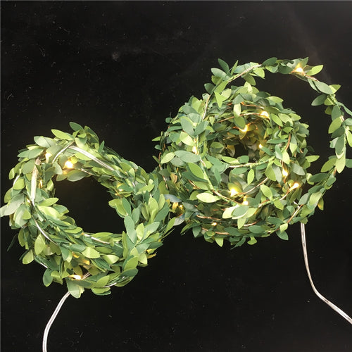 New 3M 5M 10M Leaf Garland Holiday Lamp AA Battery Operate Copper LED Fairy String Lights For Christmas Wedding Party Art Decor